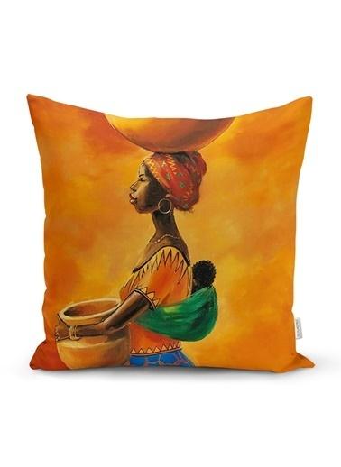 Real Homes Turuncu Afrikan Women Tasarımlı Dijital Baskılı Yastık Kırlent Kılıfı Renkli